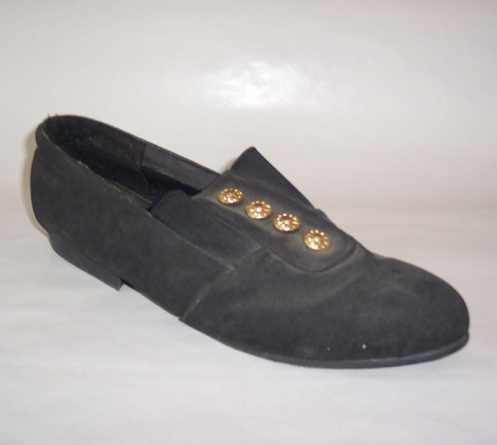 fb6233219609 Description  Black with four gold buttons down the front. Very nice casual  or work shoe